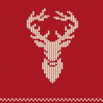 Poster Knitted pattern with deer