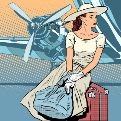 Poster Lady traveler at the airport