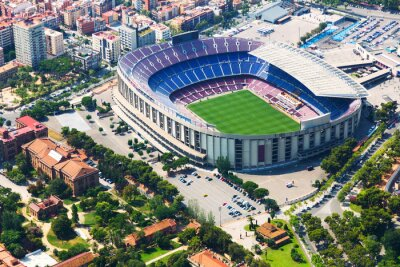 Poster Largest stadium of Barcelona from helicopter. Catalonia