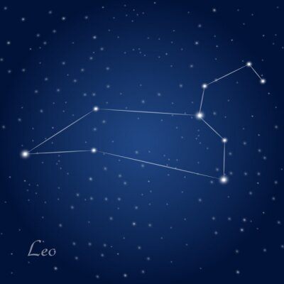 Poster Leo constellation zodiac sign at starry night sky
