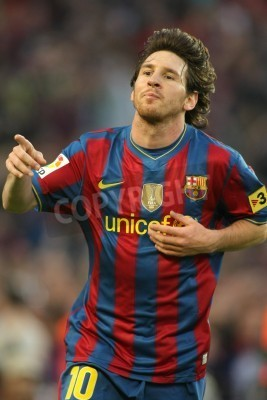 Poster Leo Messi of Barcelona during a Spanish League match between FC Barcelona and Valladolid at the Nou Camp Stadium on May 16, 2010 in Barcelona, Spain