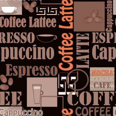 Poster Lettering coffee and icons seamless pattern retro background