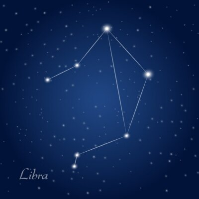 Poster Libra constellation zodiac sign at starry night sky