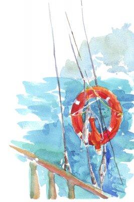 Poster lifebuoy ocean sea watercolor illustration