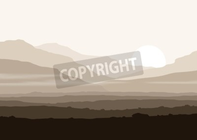 Poster Lifeless landscape with huge mountains over sun. Vector panorama eps10.