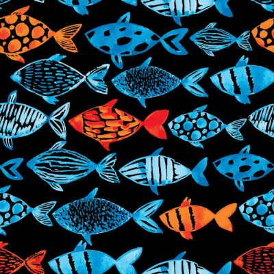 Poster Light watercolor blue and gold fishes on the black background.