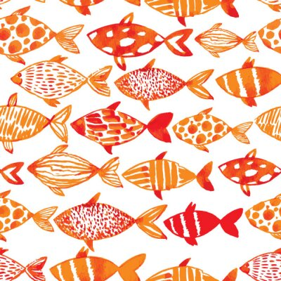 Poster Light watercolor gold fishes. Seamlessly tiling fish pattern. Ve