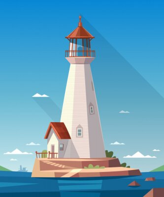 Poster Lighthouse on the rock. Vector illustration.
