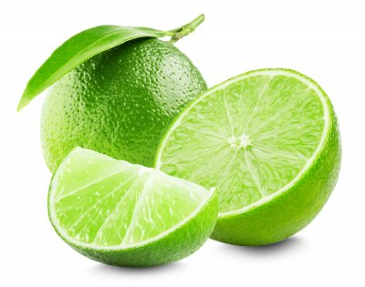 Poster Lime with slice and leaf isolated on white background