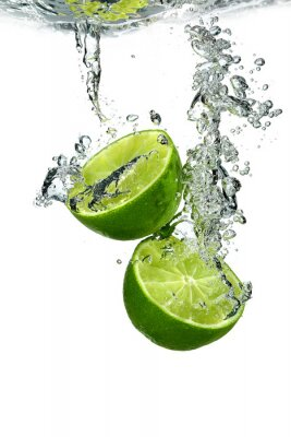 Poster Lime with water drops