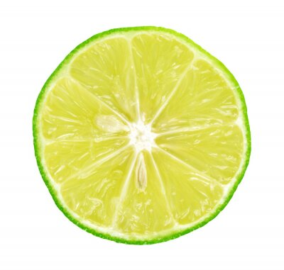 Poster Limes with slices on white background