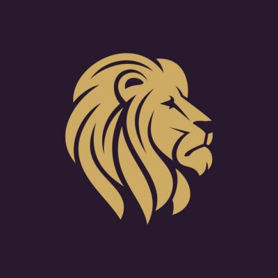 Poster Lion head logo or icon in one color. Stock vector illustration.