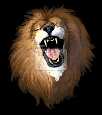 lion head on a black background