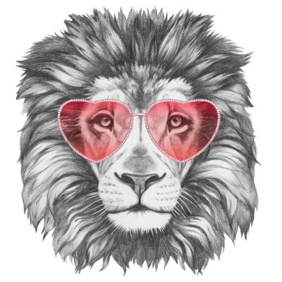 Poster Lion in Love! Portrait of Lion with heart shaped sunglasses. Hand drawn illustration.