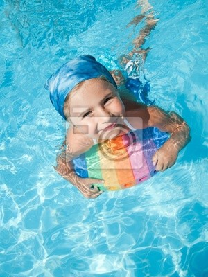 Poster: Little girl swimming in blue water