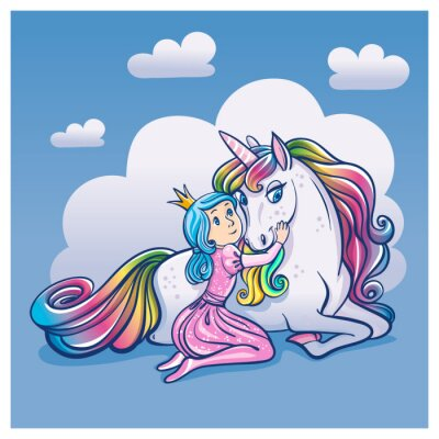Poster Little Princess Girl and Cute Unicorn, vector illustration