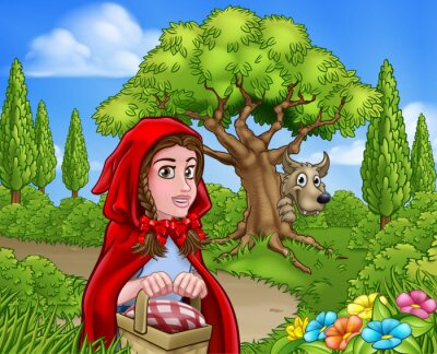 Poster Little Red Riding Hood and Wolf Scene