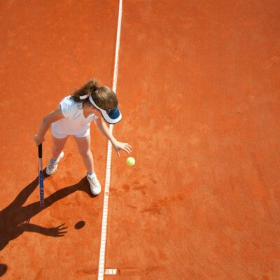 Poster Little tennis champion preparing to serve