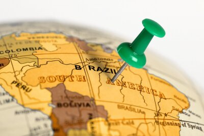 Poster Location Brazil. Green pin on the map.
