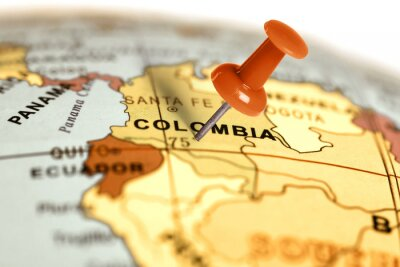 Poster Location Colombia. Red pin on the map.