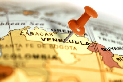 Poster Location Venezuela. Red pin on the map.