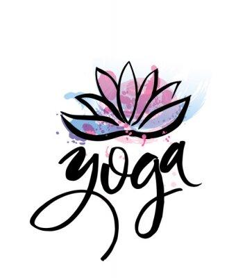 Poster Logo for yoga studio or meditation class. Spa logo design watercolor elements. Meditation concept. Silhouette lotos. Vector illustration for t-shirt print