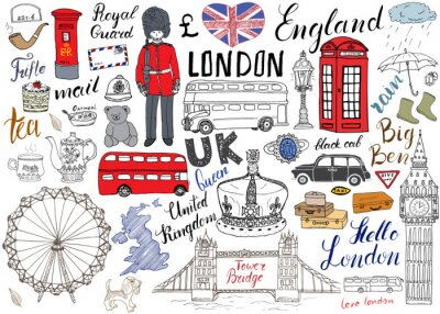 Poster London city doodles elements collection. Hand drawn set with, tower bridge, crown, big ben, royal guard, red bus and black cab, UK map and flag, tea pot, lettering, vector illustration isolated
