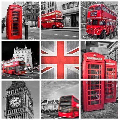 Poster London photos collage, selective color