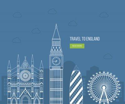 Poster London, United Kingdom flat icons design travel concept. London