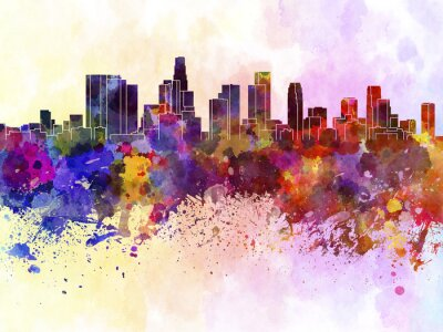 Poster Los Angeles skyline in watercolor background