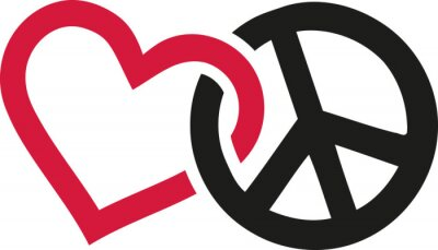 Poster Love and peace signs intertwined