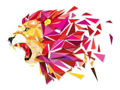 Poster Low polygon Llion geometric pattern explode - Vector illustratio