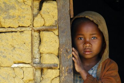 Poster Madagascar-shy and poor african girl with headkerchief