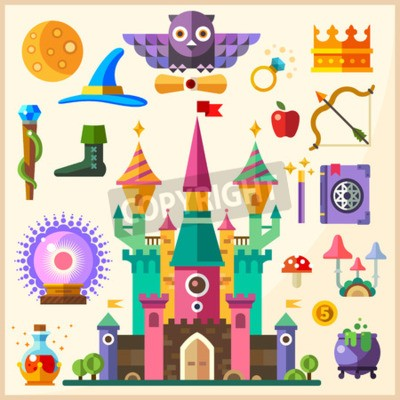 Poster Magic and fairy tale. Magic Castle. Vector flat icon and illustrations: castle owl ring crown staff hat book of spells magic wand magic ball bowler potion mushrooms bow arrow apple