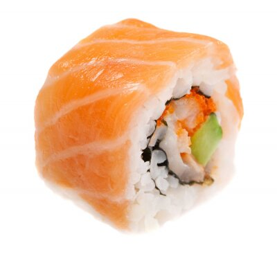 Poster Maki sushi isolated on white background