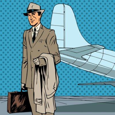 Poster Male passenger air traveler business trip businessman pop art re