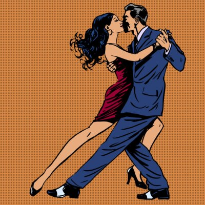 Poster man and woman kiss dance tango pop art