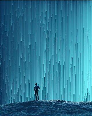 Poster man looking at a digital flow