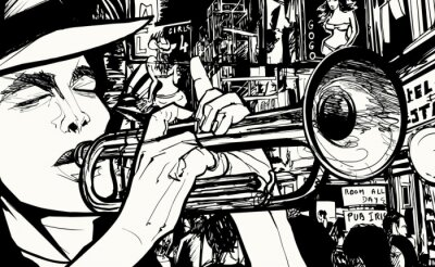 Poster man playing trumpet in a red light district