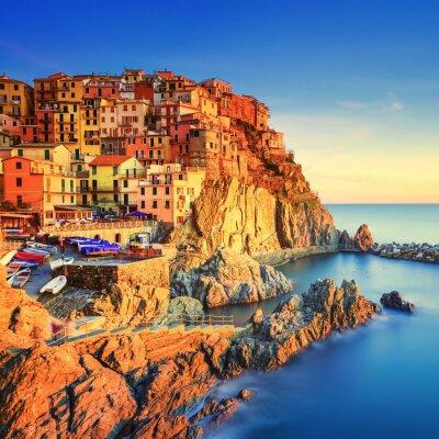 Poster Manarola village, rocks and sea at sunset. Cinque Terre, Italy