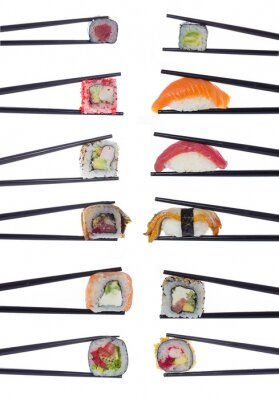 Poster Many sushi rolls in chopsticks isolated on white background