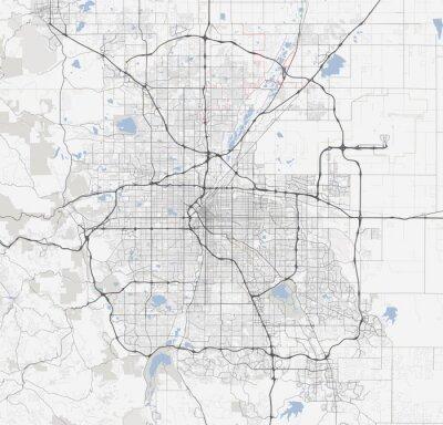 Poster Map Denver city. Colorado Roads