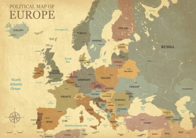 Poster Map of Europe with capitals - Vintage texture - English/US language - Vector CMYK