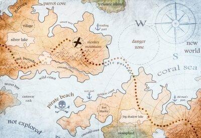Poster map of pirate treasure island