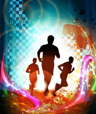 Poster Marathon runners. Vector