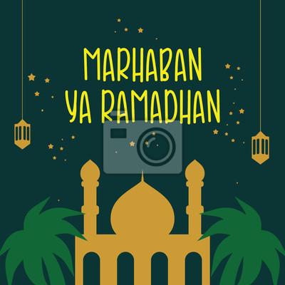 Marhaban ya ramadhan vector template design posters for ...