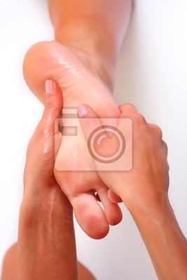 Massage and leaving of the female feet bared by a foot