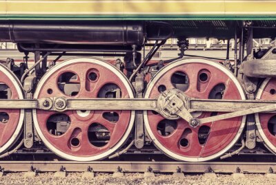 Poster Mechanical part and wheels of the steam locomotive.