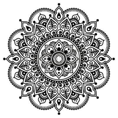 Poster Mehndi, Indian Henna tattoo pattern or background