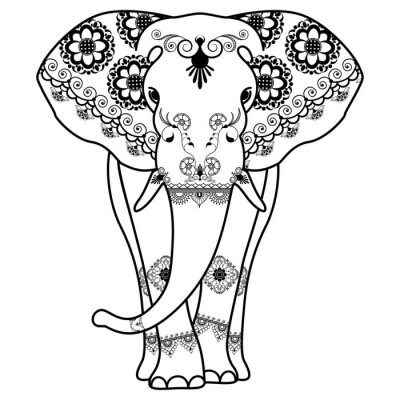 Poster Mehndi tattoo Elephant decorated in Indian style